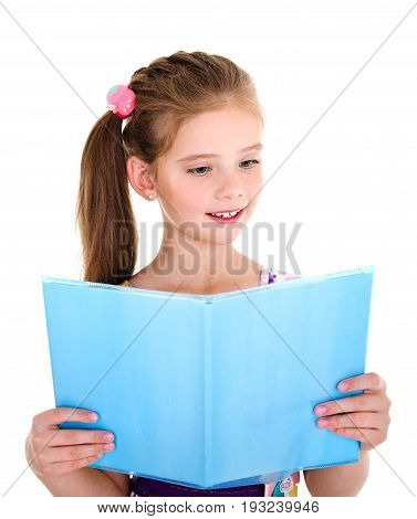 Adorable little girl child is reading a book isolated on a white