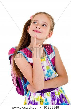 Portrait of thinking school girl child with backpack isolated on a white background education concept