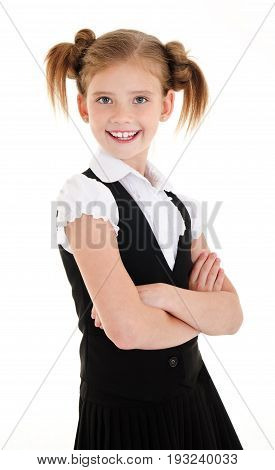 Portrait of smiling happy school girl child isolated on a white background