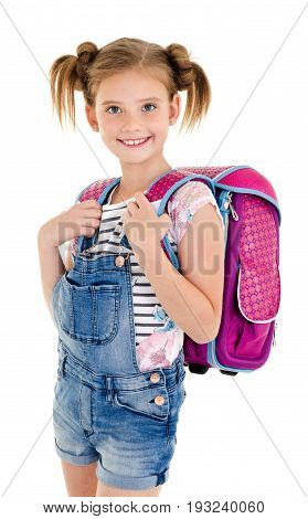 Portrait of smiling school girl child with school bag and isolated on a white background education concept