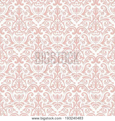 Damask classic pink pattern. Seamless abstract background with repeating elements. Orient background