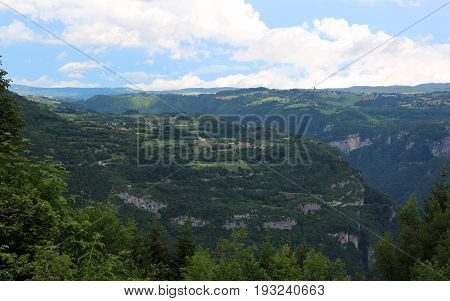 Panorama Of The Mountains Of Asiago Village In Italy