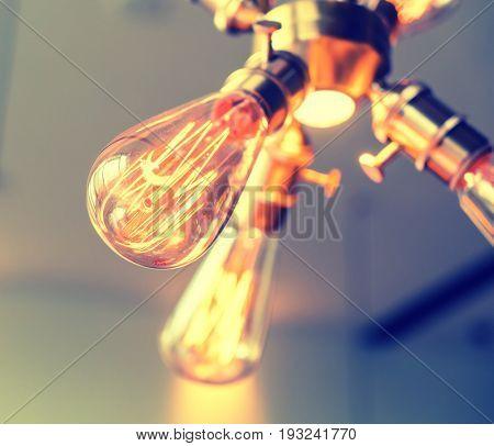 Edison light bulb hanging on