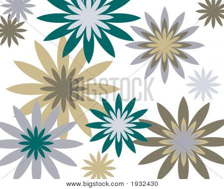 Retro Blue And Brown Floral Background