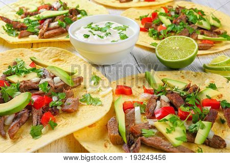 Delicious Tacos Lengua On Corn Tortilla