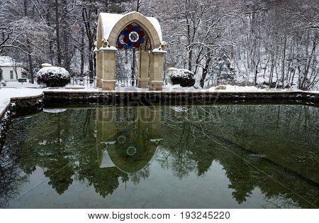 KISLOVODSK, RUSSIA - DECEMBER 25,2012:Mirror Pond in Resort parkthe largest in Russia.Resort park - ornament and pride of Kislovodsk,Caucasus.
