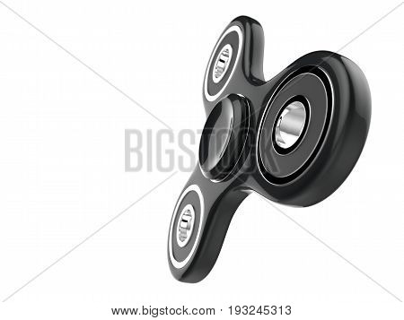 The black glossy fidget SPINNER stress relieving toy on white isolated background. 3d illustration.