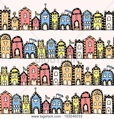Vector seamless pattern for coloring book. Background with italian houses. Endless zentangle print.