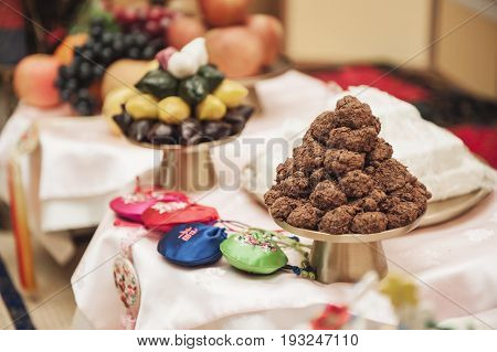 Korean food Plate of Songpyeon a Korean rice cake