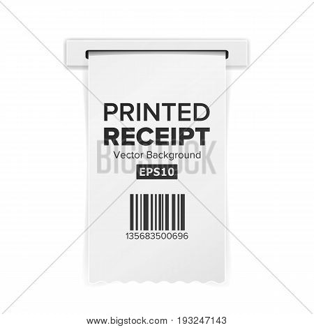 Printed Receipt Vector. Sales Shopping Realistic Paper Bill ATM Mockup. Paper Check Or Financial Check Isolated