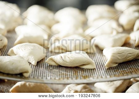 billet bun of dough with filling inside. Prepared for baking in baking production. manufacturing of food products. Baker lays out the workpiece
