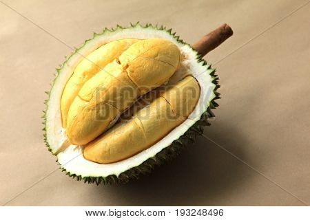Close up of durian fruit on brown background