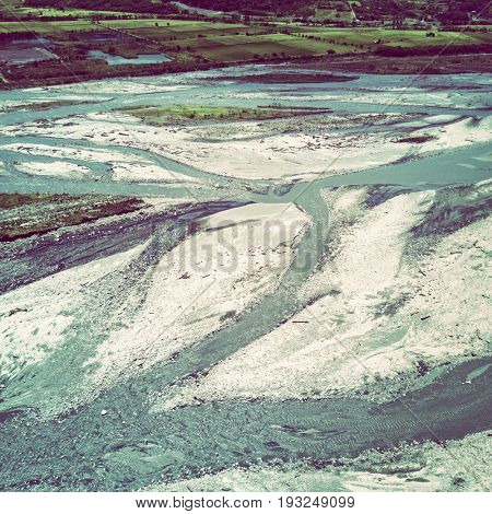 Aerial view of river bed. Taiwan 2017