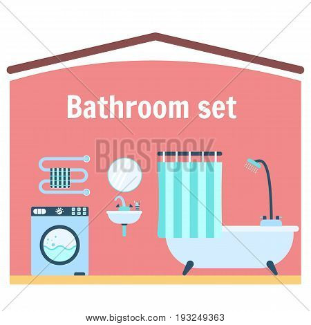 Flat blue vector bathroom appliance icon set. Colorful bathroom equipment including bathtub with shower and curtain washer machine basin with tap mirror and tooth brushes towel rail