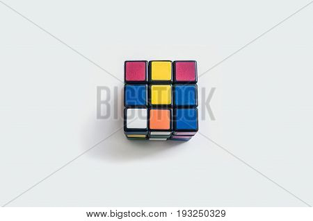 Rubik cube (magic cube) is a mechanical puzzle. Puzzle is a plastic cube from moving small cubes toy to collect.