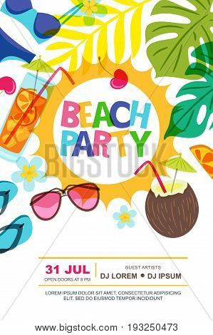 Beach Party Vector Summer Poster Design Template. Sun, Palm Leaves And Cocktails Doodle Illustration