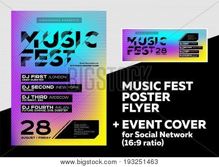 Bright DJ Poster for Summer Festival. Minimal Electronic Music Cover for Fest. Colorful Background with Trendy Geometric Pattern. Event Cover for Social Network. Techno Dub Dubstep House Trance.