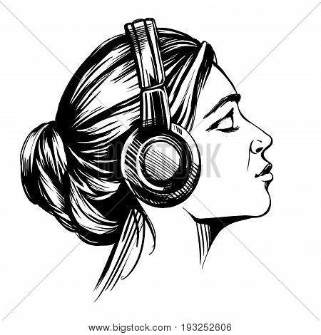 beautiful young girl listening to music on headphones hand drawn vector illustration sketch