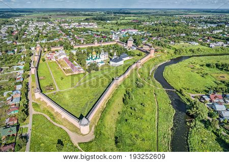 Aerial view on Saviour Monastery of Saint Euthymius in Suzdal Vladimir oblast Russia