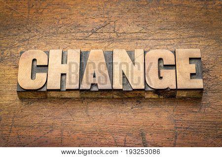 change word abstract in letterpress printing blocks against rustic weathered wood