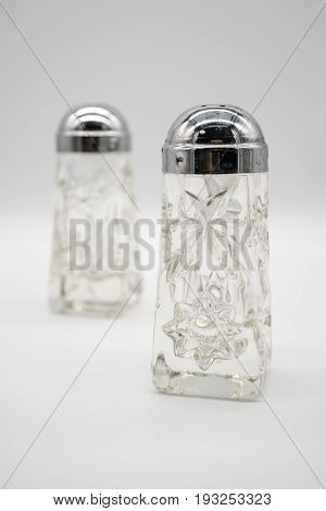 Antique Silver Cap Crystal Glass Salt And Pepper Shakers