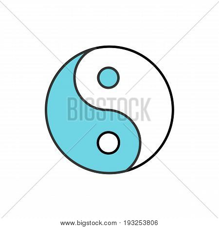 Yin yang color icon. Isolated vector illustration