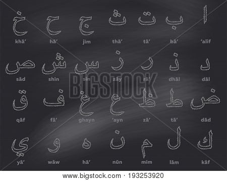 Arabic Chalk Alphabet on Black Chalkboard. Hand Drawn Letters with Thin Stroke. Sketch Style. ABC for School Books First Words Alphabet Cards for Toddlers Kids Early Childhood Education.