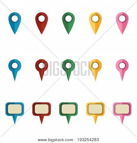 Vector Set Of Cartoon Map Markers.