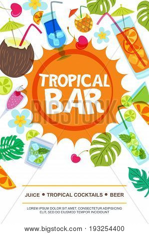 Beach bar vector menu or flyer layout. Sun palm leaves and cocktails doodle illustration. Summer design for banner flyer invitation.
