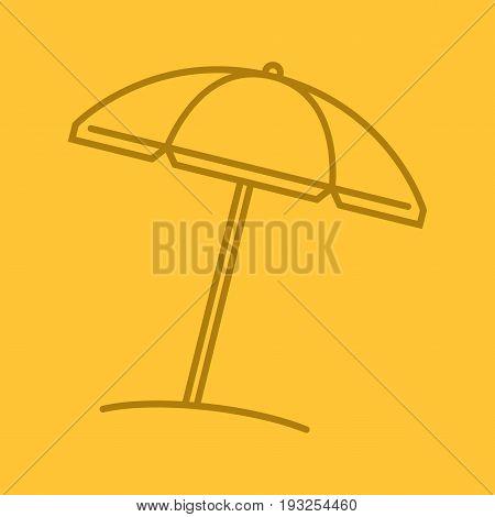 Beach umbrella color linear icon. Parasol. Thin line outline symbols on color background. Vector illustration