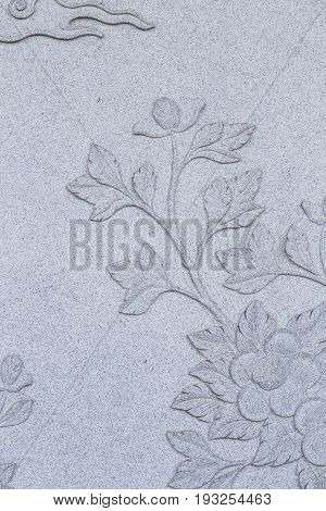Chinese Style Stone carving for background  rock, gray, flower,