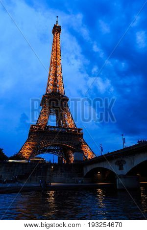 Paris France - May 27 2017: Tour Eiffel at Twilight Eiffel Tower in Paris France.