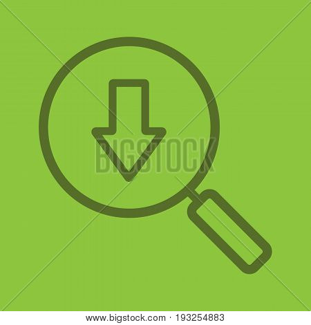 Downloaded files search color linear icon. Magnifying glass with download arrow. Thin line outline symbols on color background. Vector illustration