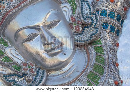 Closeup Beautiful Carved Angles Silver Door Lanna Architecture Chiangmai THAILAND.