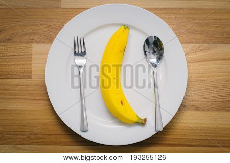 banana on dish diet meal clean food concept