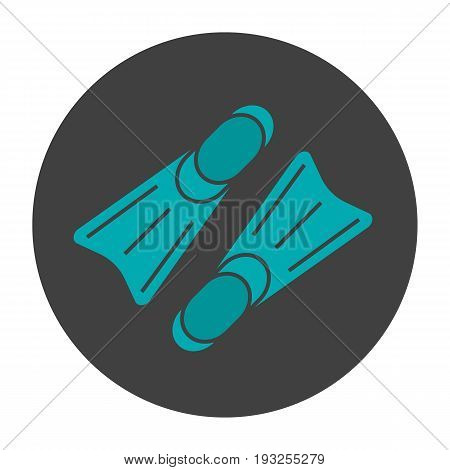 Flippers glyph color icon. Scuba diving fins. Silhouette symbol on black background. Negative space. Vector illustration