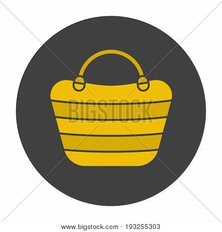 Beach bag glyph color icon. Beach tote. Silhouette symbol on black background. Negative space. Vector illustration