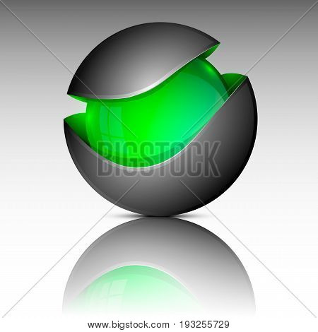 Vector illustration of green colorful orb as emblem.