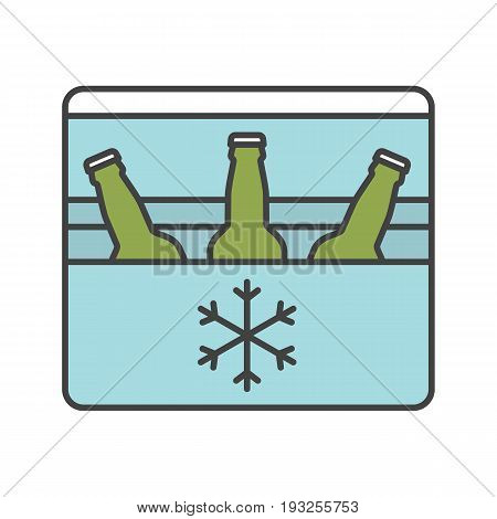Portable refrigerator color icon. Portable fridge with beer bottles. Isolated vector illustration