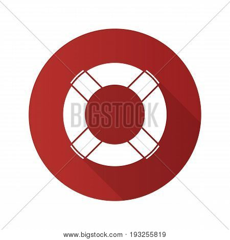 Life ring flat design long shadow glyph icon. Life buoy. Vector silhouette illustration