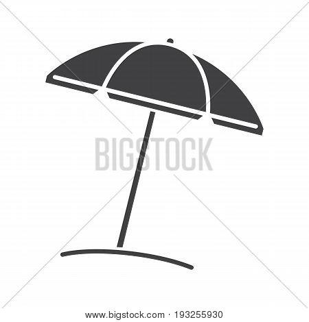 Beach umbrella glyph icon. Parasol. Silhouette symbol. Negative space. Vector isolated illustration