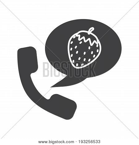 Phone sex glyph icon. Silhouette symbol. Handset with strawberry inside speech bubble. Negative space. Vector isolated illustration