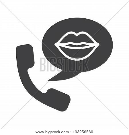 Phone sex glyph icon. Silhouette symbol. Handset with woman's lips inside speech bubble. Negative space. Vector isolated illustration