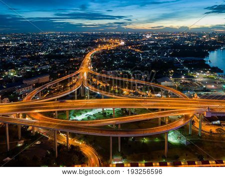 Bangkok Expressway and Highway top view during twilight time expressway is an important facility for rush hour in Bangkok BangkokThailand