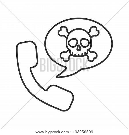 Handset with skull and crossbones inside speech bubble. Dangerous telephone call. Linear icon. Thin line illustration. Contour symbol. Vector isolated outline drawing