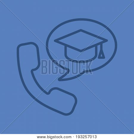 Phone call to university color linear icon. Handset with student's graduation cap inside speech bubble. Thin line contour symbols on color background. Vector illustration