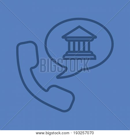 Bank phone call color linear icon. Handset with bank building inside speech bubble. Thin line contour symbols on color background. Vector illustration