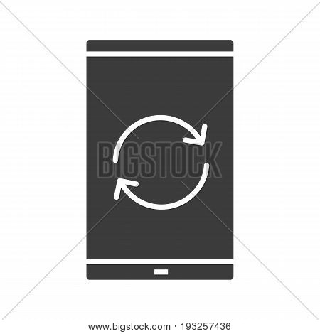 Smartphone reload button glyph icon. Silhouette symbol. Smart phone restarting. Negative space. Vector isolated illustration