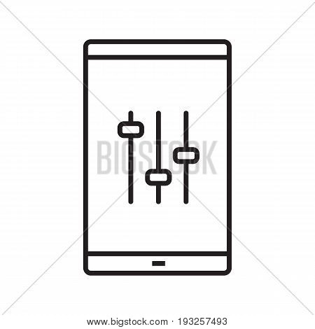Smartphone music equalizer glyph icon. Silhouette symbol. Smart phone preferences. Negative space. Vector isolated illustration