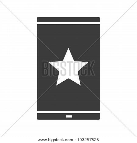 Smartphone bookmark glyph icon. Silhouette symbol. Smart phone with star mark. Negative space. Vector isolated illustration